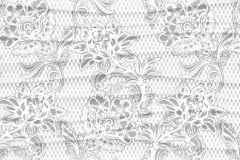 WB8224 cikkszámú tapéta.Csipke,különleges felületű,különleges motívumos,virágmintás,fehér,szürke, bordűr
