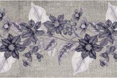 WB8227 cikkszámú tapéta.Különleges felületű,különleges motívumos,retro,természeti mintás,virágmintás,bézs-drapp,lila, bordűr