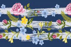 WB8237 cikkszámú tapéta.Különleges felületű,retro,virágmintás,kék,lila,narancs-terrakotta,pink-rózsaszín,sárga,zöld, bordűr