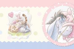 WBD8066 cikkszámú tapéta.Rajzolt,állatok,gyerek,különleges felületű,különleges motívumos,barna,kék,pink-rózsaszín,zöld, bordűr