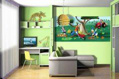 FTDN H 5321 cikkszámú tapéta.állatok,emberek-sztárok,gyerek,rajzolt,barna,kék,narancs-terrakotta,piros-bordó,sárga,zöld,vlies poszter, fotótapéta