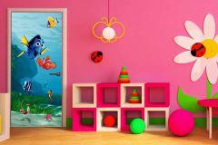 FTDN V 5436 cikkszámú tapéta.3d hatású,állatok,gyerek,fehér,kék,narancs-terrakotta,sárga,zöld,vlies poszter, fotótapéta