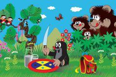 FTN H 2734 cikkszámú tapéta.állatok,gyerek,barna,fehér,kék,piros-bordó,sárga,zöld,vlies poszter, fotótapéta