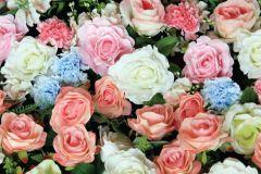 FTN H 2741 cikkszámú tapéta.Virágmintás,fehér,kék,narancs-terrakotta,pink-rózsaszín,zöld,vlies poszter, fotótapéta
