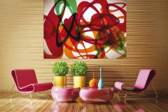 FTN M 2629 cikkszámú tapéta.3d hatású,absztrakt,geometriai mintás,fehér,narancs-terrakotta,piros-bordó,zöld,vlies poszter, fotótapéta