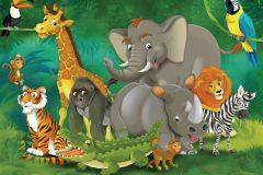 FTN M 2648 cikkszámú tapéta.állatok,gyerek,barna,fehér,fekete,sárga,szürke,zöld,vlies poszter, fotótapéta