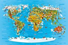FTN M 2650 cikkszámú tapéta.állatok,gyerek,különleges motívumos,fehér,kék,sárga,zöld,vlies poszter, fotótapéta