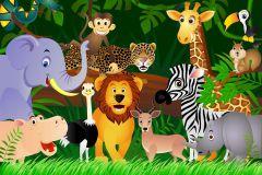 FTN S 2440 cikkszámú tapéta.állatok,gyerek,barna,bézs-drapp,fehér,fekete,sárga,szürke,zöld,vlies poszter, fotótapéta