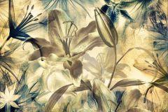FTN S 2444 cikkszámú tapéta.Virágmintás,türkiz,vajszín,vlies poszter, fotótapéta