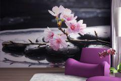 FTN S 2460 cikkszámú tapéta.Virágmintás,fehér,fekete,pink-rózsaszín,vlies poszter, fotótapéta