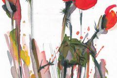 FTN V 2829 cikkszámú tapéta.Rajzolt,virágmintás,fehér,piros-bordó,sárga,zöld,vlies poszter, fotótapéta