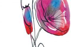 FTN V 2852 cikkszámú tapéta.Rajzolt,virágmintás,fehér,fekete,pink-rózsaszín,piros-bordó,vlies poszter, fotótapéta