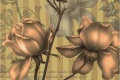 FTN V 2859 cikkszámú tapéta.Csíkos,feliratos-számos,virágmintás,barna,bézs-drapp,zöld,vlies poszter, fotótapéta