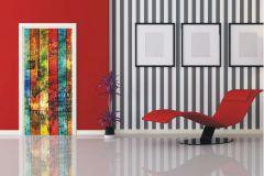 FTN V 2880 cikkszámú tapéta.Fa hatású-fa mintás,feliratos-számos,kék,narancs-terrakotta,piros-bordó,sárga,zöld,vlies poszter, fotótapéta
