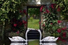FTN XL 2536 cikkszámú tapéta.állatok,tájkép,fehér,pink-rózsaszín,piros-bordó,szürke,zöld,vlies poszter, fotótapéta