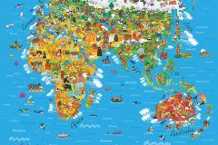 FTN XL 2540 cikkszámú tapéta.állatok,gyerek,rajzolt,barna,bézs-drapp,fehér,kék,narancs-terrakotta,piros-bordó,sárga,zöld,vlies poszter, fotótapéta