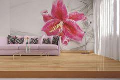 FTN XXL 0112 cikkszámú tapéta.Virágmintás,fehér,pink-rózsaszín,szürke,vlies poszter, fotótapéta