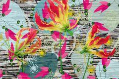 FTN XXL 0321 cikkszámú tapéta.Kőhatású-kőmintás,virágmintás,pink-rózsaszín,sárga,szürke,zöld,vlies poszter, fotótapéta