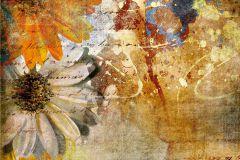 FTN XXL 0335 cikkszámú tapéta.Feliratos-számos,virágmintás,barna,fehér,kék,sárga,vlies poszter, fotótapéta