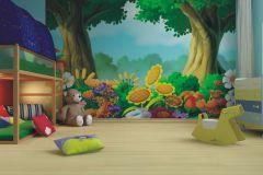 FTN XXL 0402 cikkszámú tapéta.Gyerek,rajzolt,tájkép,virágmintás,barna,fehér,kék,lila,narancs-terrakotta,pink-rózsaszín,piros-bordó,sárga,zöld,vlies poszter, fotótapéta