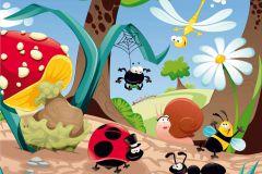 FTN XXL 0407 cikkszámú tapéta.állatok,gyerek,rajzolt,barna,fehér,kék,piros-bordó,sárga,zöld,vlies poszter, fotótapéta