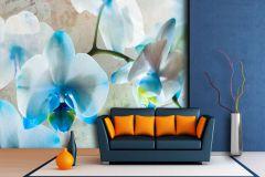 FTN XXL 1144 cikkszámú tapéta.Virágmintás,kék,szürke,zöld,vlies poszter, fotótapéta