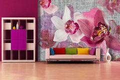FTN XXL 1148 cikkszámú tapéta.Textilmintás,virágmintás,fehér,pink-rózsaszín,szürke,vlies poszter, fotótapéta