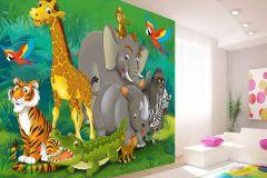 FTN XXL 2420 cikkszámú tapéta.állatok,gyerek,rajzolt,barna,bézs-drapp,kék,narancs-terrakotta,sárga,szürke,zöld,vlies poszter, fotótapéta