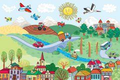 FTN XXL 2483 cikkszámú tapéta.állatok,gyerek,rajzolt,barna,fehér,fekete,kék,piros-bordó,sárga,zöld,vlies poszter, fotótapéta