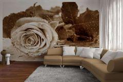 FTS 0086 cikkszámú tapéta.3d hatású,virágmintás,barna,fehér,papír poszter, fotótapéta