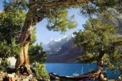 FTS S 0833 cikkszámú tapéta.3d hatású,tájkép,természeti mintás,barna,bézs-drapp,fehér,kék,szürke,zöld,papír poszter, fotótapéta