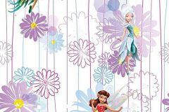 WPD9710 cikkszámú tapéta.Csíkos,gyerek,virágmintás,barna,kék,lila,pink-rózsaszín,sárga,zöld,gyengén mosható,vlies tapéta