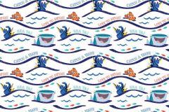 WPD9731 cikkszámú tapéta.állatok,csíkos,gyerek,kék,narancs-terrakotta,sárga,gyengén mosható,vlies tapéta