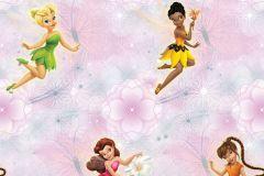 WPD9736 cikkszámú tapéta.Gyerek,virágmintás,lila,pink-rózsaszín,zöld,gyengén mosható,vlies tapéta