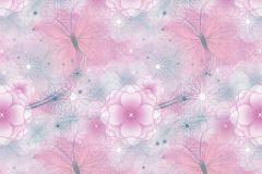 WPD9737 cikkszámú tapéta.állatok,virágmintás,fehér,lila,pink-rózsaszín,szürke,gyengén mosható,vlies tapéta