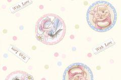 WPD9744 cikkszámú tapéta.Gyerek,pöttyös,rajzolt,kék,pink-rózsaszín,vajszínű,zöld,gyengén mosható,vlies tapéta