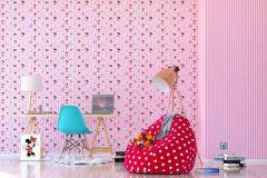 WPD9746 cikkszámú tapéta.Csíkos,gyerek,kék,lila,pink-rózsaszín,piros-bordó,gyengén mosható,vlies tapéta