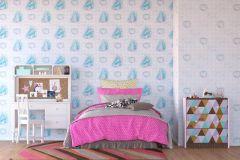 WPD9750 cikkszámú tapéta.Gyerek,fehér,kék,lila,gyengén mosható,vlies tapéta