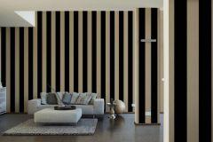 33581-4 cikkszámú tapéta.Csíkos,dekor,különleges felületű,különleges motívumos,plüss felületű,velúr felületű,arany,fekete,illesztés mentes,vlies tapéta