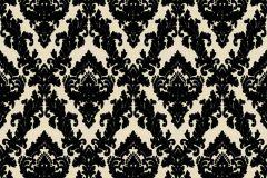 33582-6 cikkszámú tapéta.Barokk-klasszikus,különleges felületű,plüss felületű,velúr felületű,fekete,vajszín,vlies tapéta