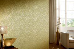 2902-36 cikkszámú tapéta.Barokk-klasszikus,csillámos,textilmintás,valódi textil,zöld,gyengén mosható,vlies tapéta