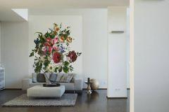 10000-1 cikkszámú tapéta.Rajzolt,természeti mintás,virágmintás,fehér,kék,lila,narancs-terrakotta,pink-rózsaszín,piros-bordó,szürke,zöld,vlies poszter, fotótapéta