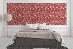 33869-5 cikkszámú tapéta.Barokk-klasszikus,különleges felületű,különleges motívumos,rajzolt,természeti mintás,virágmintás,piros-bordó,sárga,vajszín,súrolható,vlies tapéta