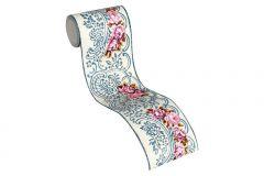 34074-3 cikkszámú tapéta.Barokk-klasszikus,csíkos,különleges felületű,különleges motívumos,természeti mintás,virágmintás,fehér,kék,narancs-terrakotta,pink-rózsaszín,vlies bordűr