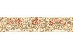 34074-5 cikkszámú tapéta.Barokk-klasszikus,csíkos,különleges felületű,különleges motívumos,rajzolt,természeti mintás,virágmintás,narancs-terrakotta,vajszín,vlies bordűr