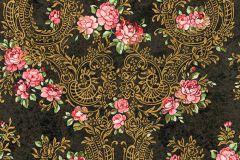 34075-1 cikkszámú tapéta.Barokk-klasszikus,különleges felületű,különleges motívumos,metál-fényes,rajzolt,virágmintás,arany,fekete,narancs-terrakotta,pink-rózsaszín,zöld,súrolható,vlies tapéta