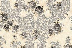34075-2 cikkszámú tapéta.Barokk-klasszikus,különleges felületű,különleges motívumos,metál-fényes,rajzolt,természeti mintás,textilmintás,virágmintás,ezüst,fekete,szürke,vajszín,súrolható,vlies tapéta