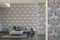 34075-3 cikkszámú tapéta.Barokk-klasszikus,különleges felületű,különleges motívumos,metál-fényes,rajzolt,textilmintás,virágmintás,narancs-terrakotta,pink-rózsaszín,vajszín,súrolható,vlies tapéta