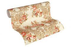 34075-5 cikkszámú tapéta.Barokk-klasszikus,különleges felületű,különleges motívumos,rajzolt,természeti mintás,virágmintás,arany,bronz,narancs-terrakotta,vajszín,súrolható,vlies tapéta