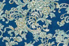 34077-1 cikkszámú tapéta.Barokk-klasszikus,különleges felületű,különleges motívumos,rajzolt,természeti mintás,textil hatású,virágmintás,bronz,kék,türkiz,vajszín,zöld,súrolható,vlies tapéta
